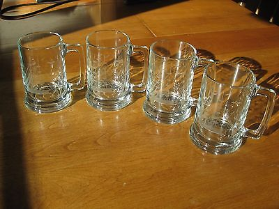 Set Of 4 Etched Clipper Ship Clear Glass Mugs 16 Oz.