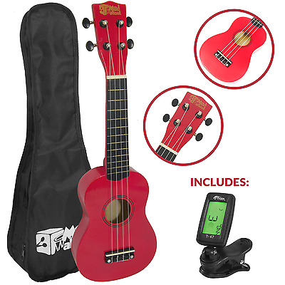 Soprano Ukulele for Beginners in Red with FREE Uke Bag & Tuner