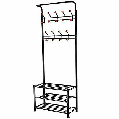 18 Hooks Metal Clothes/Hat Hanger Tree Hall Stand Coats Rack/Stand Black M8Q7