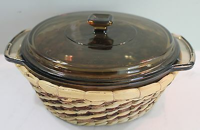 Anchor Ovenware Covered Casserole 1.5 Qt Smoke Brown with Basket