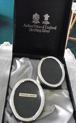 Boxed set of 2 Small Oval Solid Sterling Silver Photo Frames - Arthur Price