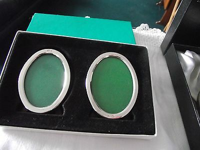 Boxed set of 2 Small Oval Solid Sterling Silver Photo Frames