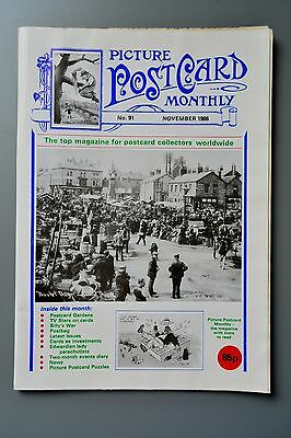 R&L Mag-Picture Postcard Monthly 1986 Nov Lady Parachutists/Gardens/TV Stars