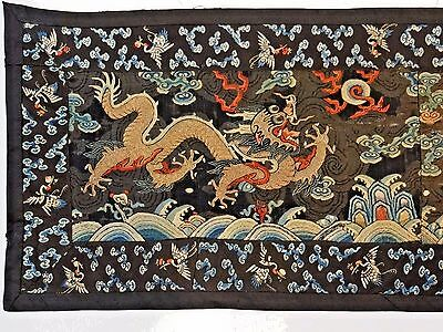 19th C. Ching Dyn. Chinese Silk Embroidered 5-Claw Dragon Ch'ao-Fu Panel-LONG!!