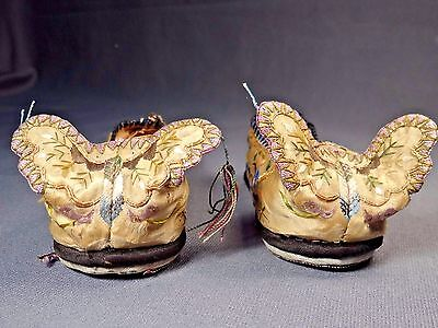 19th C. Qing [Ching] Dynasty Silk Embroidered Children's Butterfly Shoes