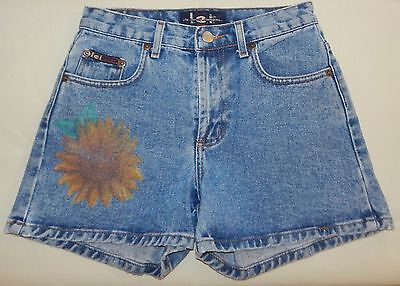 L E I JEANS Casual DENIM Blue Jean Size 14 SHORTS Girls LARGE Sunflower Print