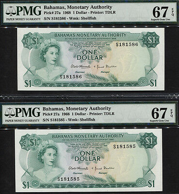 TT PK 27a 1968 BAHAMAS 1 DOLLAR PMG 67 PQ QUEEN SET OF 2 SEQUENTIAL NUMBER NOTES