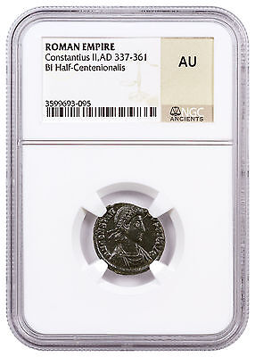 Roman Empire Random Billon Half-Centenionalis 3rd-5th Centuries NGC AU SKU47145