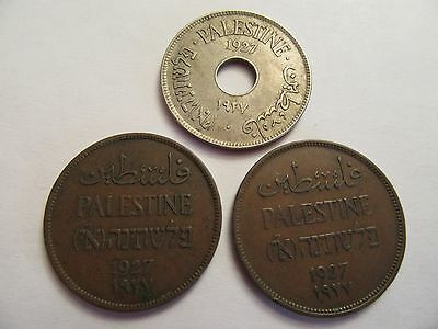 Lot of Three 1927 Palestine Coins, 2 2 Mils +1 10 Mils, nice details