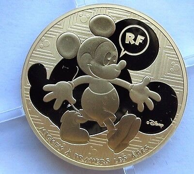 2016 France 1/4 oz Proof Gold Disney Mickey Mouse Through the Ages Coin