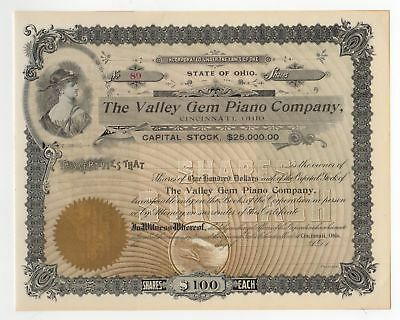 1901 - Valley Gem Piano Company Stock Certificate