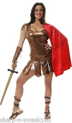 Ladies Sexy Roman Centurion Gladiator Toga Historical Fancy Dress Costume Outfit