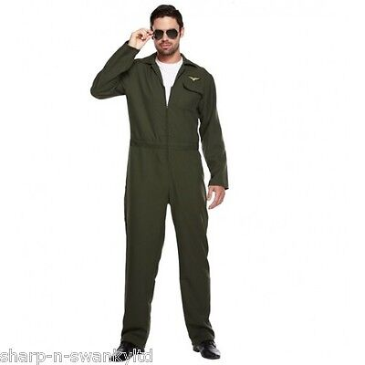 Adult Mens Aviator Army Military Pilot Jumpsuit Fancy Dress Costume Outfit 89fe5ff06db82
