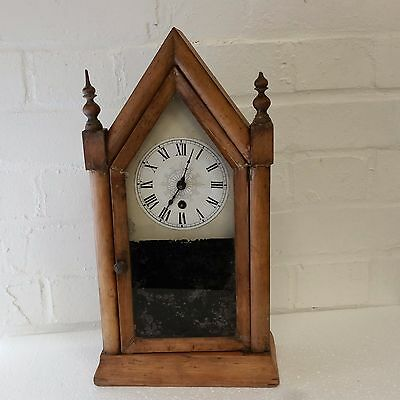 Antique Jerome & Co. Sharp Gothic small timepiece clock .For restoration.