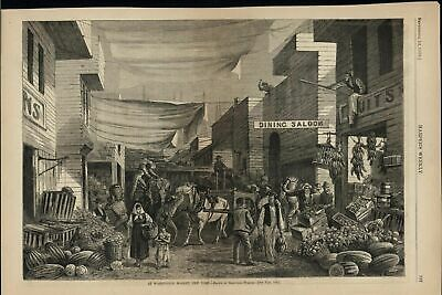 Washington Market New York Street Vendors 1878 antique wood engraved print