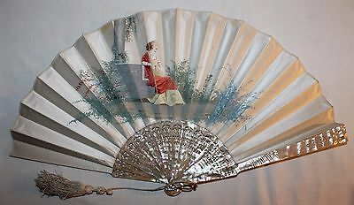 Antique French 19Th Century Nacre Carved Sticks Hand Painted Scene Fan