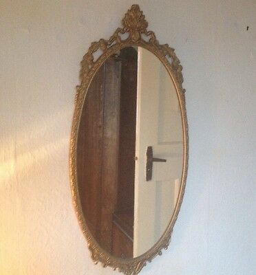 Large Brass Antique French Rococo Style Mirror