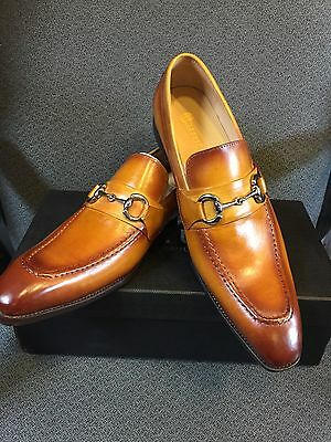 NEW CARRUCCI Men's Tan Dress Leather Bit Loafer Slip On Shoes  Size 9