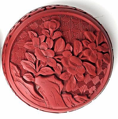 Old Chinese Cinnabar Lacquer Carved Carving Enamel Round Trinket or Snuff Box
