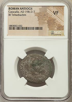 Roman Antioch Caracalla AD 198-217 Bl Tetradrachm NGC Ancients VF