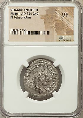 Roman Antioch Philip I AD 244-249 Bl Tetradrachm NGC Ancients VF