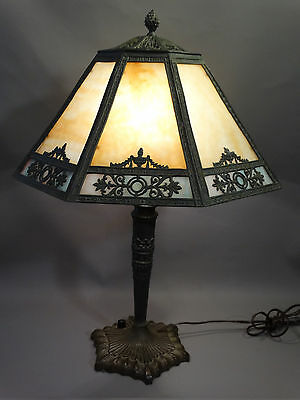 Antique ART NOUVEAU Era SLAG GLASS Metal URN Filigree BRONZED Parlor LAMP Shade