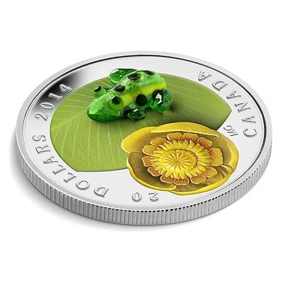 2014 Canada Fine Silver Coin, Water-lily and Venetian Glass Leopard Frog, NO TAX