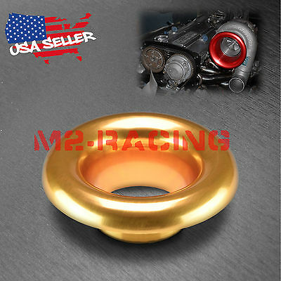 """3"""" Champagne Gold Short Ram Cold Air Intake Turbo Horn Aluminum Velocity Stack"""