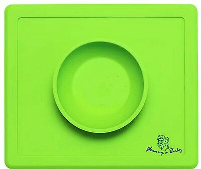 All-In-One Reusable Baby Silicone Place Mat Bowl with Anti-Spill Surface Suction