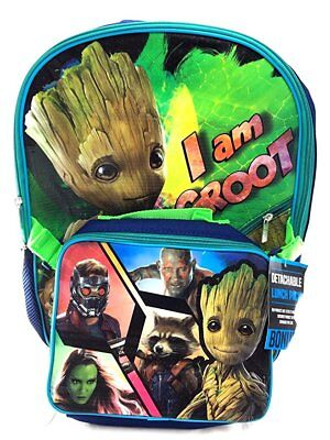 """Guardians Of The Galaxy Vol 2 """" I AM GROOT """" 16"""" Backpack With Matching Lunch B"""