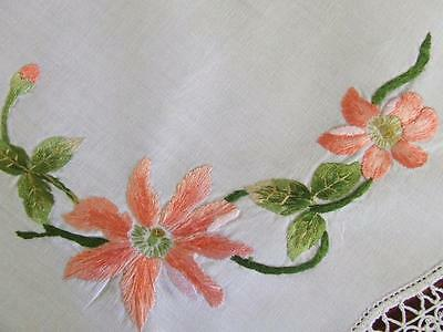 Pretty Hand Embroidered Vintage Centre Doily Lustre Peach Magnolia Tatted Edging