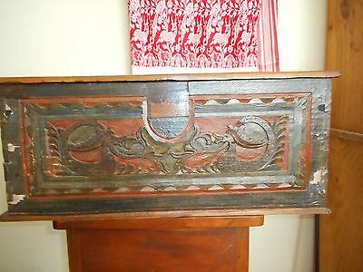 Nice antique hand carved and painted wooden chest
