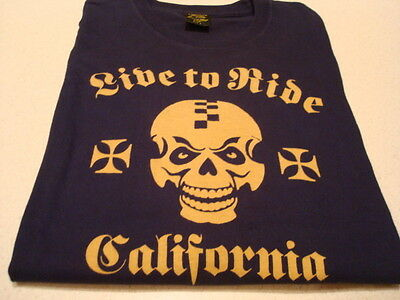 """Lucky Brand """"Classic Fit"""" Navy Blue Long Sleeve Skull T-Shirt Sz. S  Excellent"""