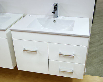 NEW white gloss BATHROOM VANITY,  Ceramic top/basin. 750mm wide.