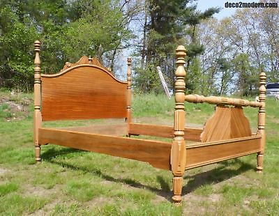 Vintage Bleached Solid Mahogany Full Double Poster Bed Antique