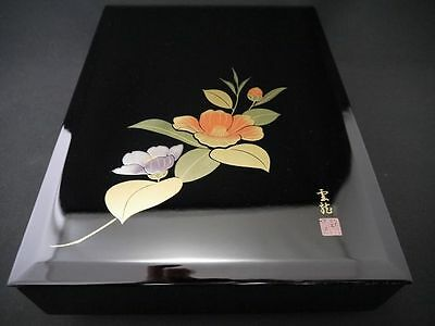 Japanese Traditional Lacquer Wooden Box with design in CAMELLIA maki-e  (M14)