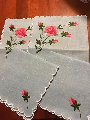 Two Vintage Swiss Blue Linen Polyester Placemats + Napkins Embroidered Rose new