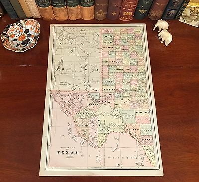 XLARGE Original 1891 Antique Map WEST TEXAS Sweetwater Amarillo Midland Lubbock