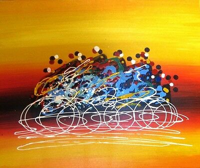 """Abstract Wall Art Oil Canvas Framed Hand Painted Modern Decor 60X50cm """"Cyclists"""""""