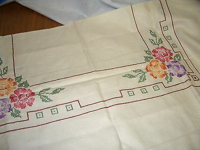 "50"" Square Vintage Antique Embroidered Tablecloth"