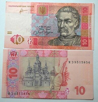 2011 UKRAINE ( one )10 HRYVEN FOREIGN PAPER MONEY BANKNOTE CURRENCY,EUROPE,UNC