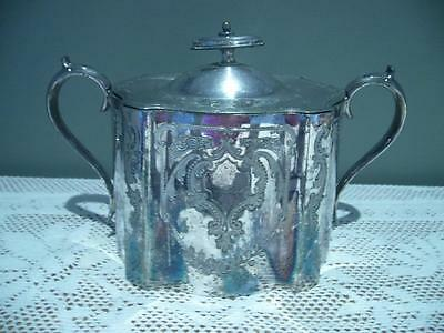 Vintage Lee & Wigfull England Silver Plated Lidded Sugar Bowl - Good Cond