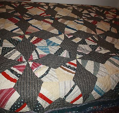 "Hand Sewn Antique Quilt Windmill 70""X 78"" Patina Character"