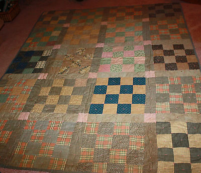 "Vintage Quilt Checkerboard Home Sewn Hand Tied 68"" X 84"" Antique Fabrics"
