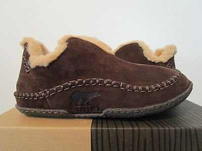 NIB Mens 8-9-11 Sorel Manawan Comfy Casual Leather Slippers Slip On Shoes Bark
