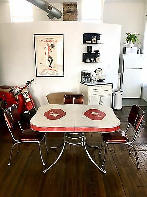 Vintage 1950s Retro Red Formica Chrome Diner Kitchen Table Teapot Ice Vinyl Set