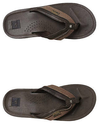 New Rip Curl Men's Ox Thong Rubber Canvas Leather Brown