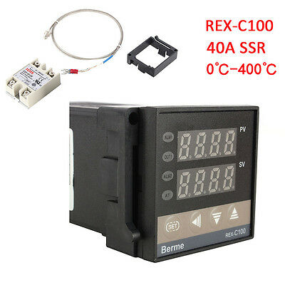 PID REX-C100 Temperature Controller + 40A Solid State Relay + K Thermocouple TP