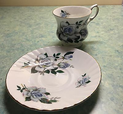 Elizabethan Fine Bone China Footed Tea Cup and saucer - Blue Roses -Gold Trim