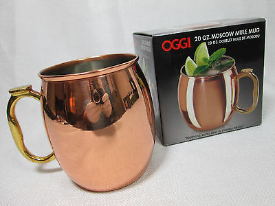 New • OGGI • 20 oz. Handmade Moscow Mule Mug - Copper Stainless -Fast Free Ship!